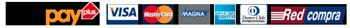 Logos de formas de pago con tarjetas Webpay, Visa, Mastercard, Magna, Dinners Club y Redcompra
