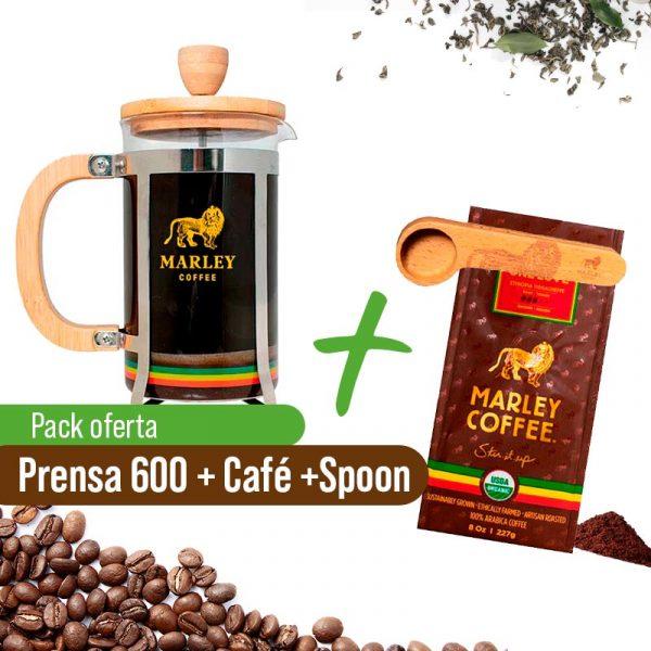Prensa 600ml + Café Marley Coffe + Spoon